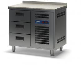 Стол холодильный с гранитной столешницей выдвижными ящиками СХСБ К-2/3Я 945х700