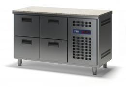 Стол холодильный с гранитной столешницей выдвижными ящиками СХСБ К-1/4Я 1390х600