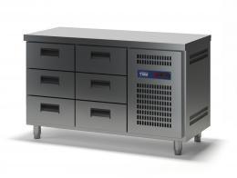 Стол холодильный с выдвижными ящиками СХСБ-1/6Я 1390х600