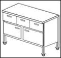 Стол с распашными дверками и выдвижными ящиками СГДР-1/1500/600