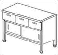 Стол купе с дверками и выдвижными ящиками СГДК-1/1000/600